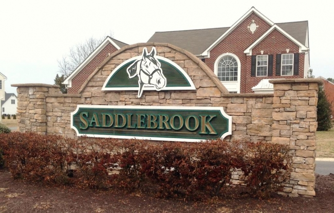Entrance to the Saddlebrook community in Fruitland MD