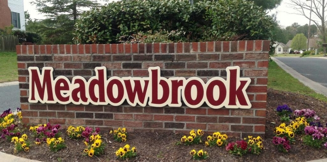 Entrance to the Meadowbrook neighborhood in Salisbury Maryland