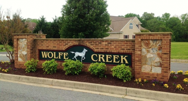 Entrance to Wolfe Creek in Salisbury MD